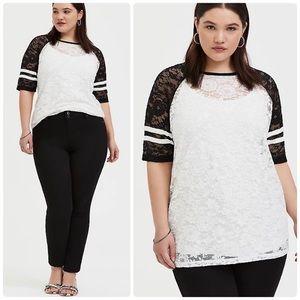 Torrid Black & White Lace Football Tee Shirt Top